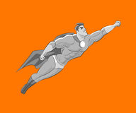 Flying superhero style Black and white pencil sketch Stock Photo