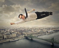 Flying superman Royalty Free Stock Photo