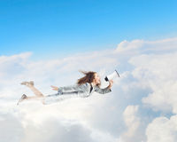 Flying superwoman Royalty Free Stock Image