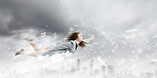 Flying superwoman Royalty Free Stock Photos