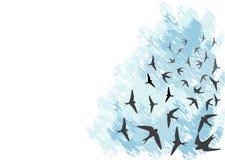 Flying swallows stock illustration