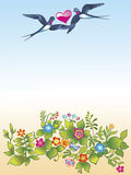 Flying swallows and flowers Stock Image