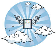 Flying tablet with wings Royalty Free Stock Image