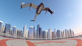 Flying Taxi Drone with the city ckyline in the background, 4k vector illustration