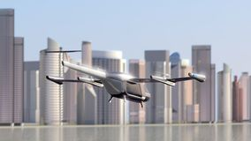 Flying Taxi Drone takeoff with the city skyline in the background, 4k vector illustration