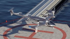 Flying Taxi Drone takeoff with the city skyline in the background, 4k royalty free illustration