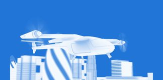 Flying Taxy Drone Blueprint royalty free illustration