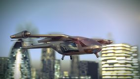 Flying Taxy Drone Going Through the City. 4k 3d animation vector illustration