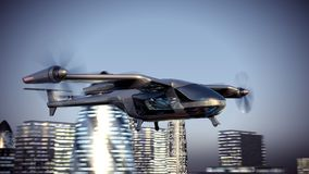 Flying Taxy Drone Going Through the City. 4k 3d animation stock illustration