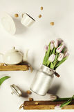 Flying tea and flowers Royalty Free Stock Photos