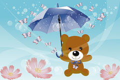 Flying teddy with butterflies in the land of dream Royalty Free Stock Image