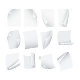 Flying Template Blank White Paper Set. Vector Stock Images