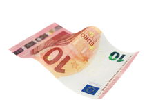 Flying 10 ten euro banknote isolated on white Stock Images