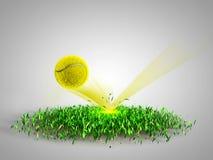 Flying tennis ball scores Stock Photo