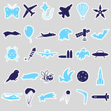 Flying theme symbols and stickers set. Eps10 Stock Images