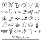 Flying theme theme outline symbols and icons set eps10. Flying theme theme outline symbols and icons set Stock Photos