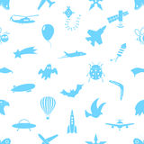 Flying theme theme symbols and icons seamless pattern. Eps10 Stock Photo