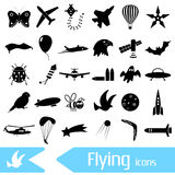 Flying theme theme symbols and icons set. Eps10 Royalty Free Stock Photos