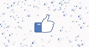 Flying thumb up animation. Video on white background. Like icon for social network. Human hand gesture. 4K video. stock illustration
