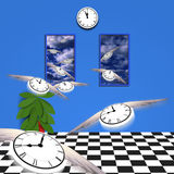 Flying time. Flying clocks fly out of room into open air Stock Photography