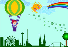 Flying to catch the rainbow of hope Stock Images