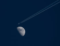 Flying to the moon Royalty Free Stock Photos