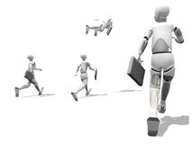 Flying to work. Crash test dummie flying and other dummies running to work Royalty Free Stock Photos