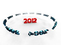 Flying to the years. Years of stealing around the new year 2012 in red on white background Royalty Free Stock Photos