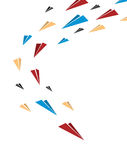 Flying together multicolor origami paper planes. Poster or cover Stock Photos
