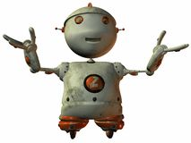 Flying Toon Robot Royalty Free Stock Photo