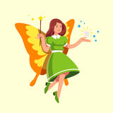 Flying tooth fairy in dress holding magic wand Royalty Free Stock Images