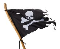 Torn Pirate Flag. Flying Torn Pirate Flag Isolated on White Background royalty free stock photos