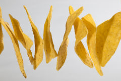 Flying tortilla chips. Some triangle tortilla chips in the air Stock Photos