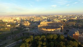 Flying towards Colosseum also known as Coliseum or Flavian Amphitheater stock video footage