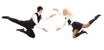 Flying towards each other. The businessman and business - lady on white Royalty Free Stock Images