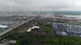 Flying Towards Walt Whitman Bridge Philadelphia on Stormy Day stock footage