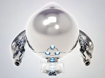 Flying toy robot with stainless steel armor Stock Photography