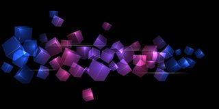 Flying transparent cubes futuristic background. With primer colors of blue, pink and purple stock illustration