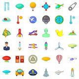 Flying transport icons set, cartoon style. Flying transport icons set. Cartoon style of 36 flying transport vector icons for web isolated on white background Stock Images