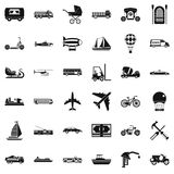 Flying transport icons set, simple style Royalty Free Stock Photos