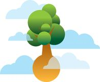 Flying tree. Tree in floating in the heavens Stock Photos