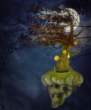Flying tree island and moon Royalty Free Stock Photo
