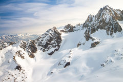 Flying trip around the Mount Blanc Royalty Free Stock Image