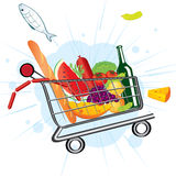 Flying trolley at the supermarket. Trolley full of delicious food flies from the supermarket Stock Images