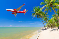 Flying for tropical holidays Stock Images