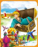 The flying trunk - the prince - castles - knights and fairies - Beautiful Manga style- illustration for the children. The happy and colorful illustration for the Royalty Free Stock Images