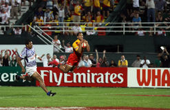 Flying in for a try at the Dubai Rugby Sevens Stock Photography