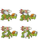 Flying Turtle with Rocket Sprite Royalty Free Stock Photography