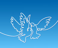 Flying two pigeons logo Stock Image