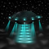 Flying ufo in the night Stock Photo